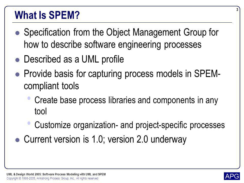 What Is SPEM Specification from the Object Management Group for how to describe software engineering processes.