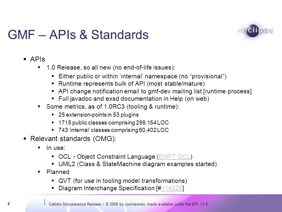 GMF – APIs & Standards APIs Relevant standards (OMG):