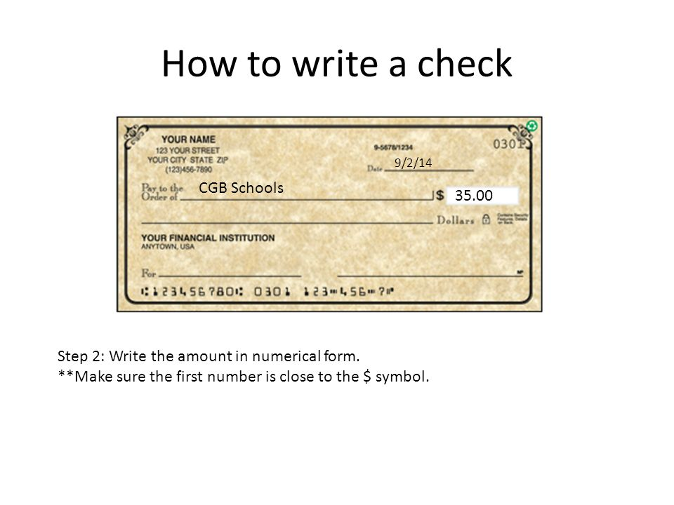 How to Write a Check for United States Department of State