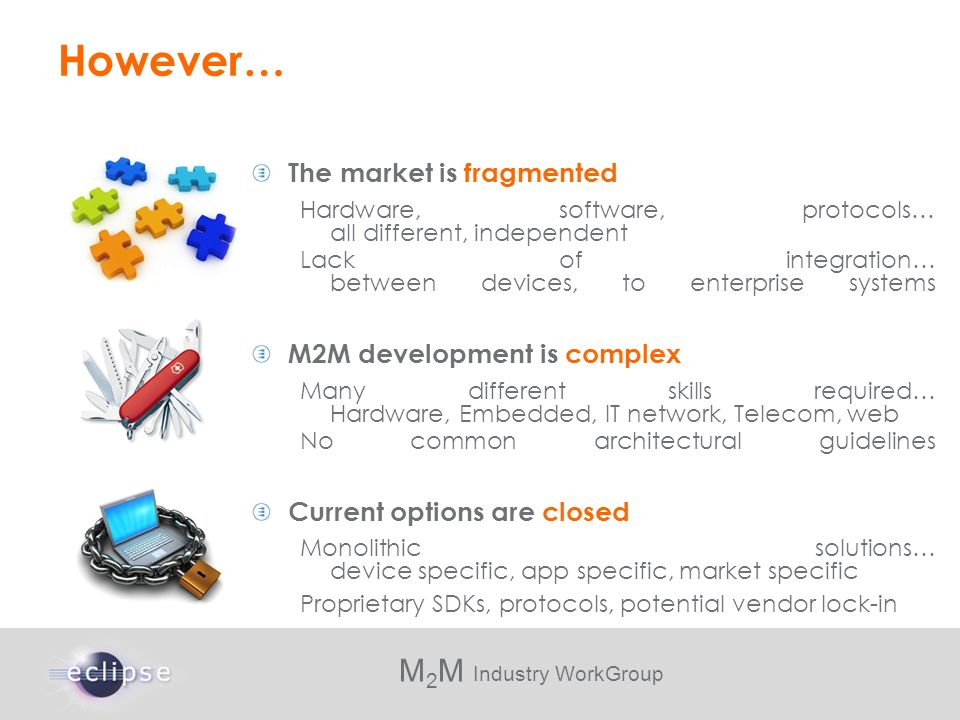However… The market is fragmented M2M development is complex
