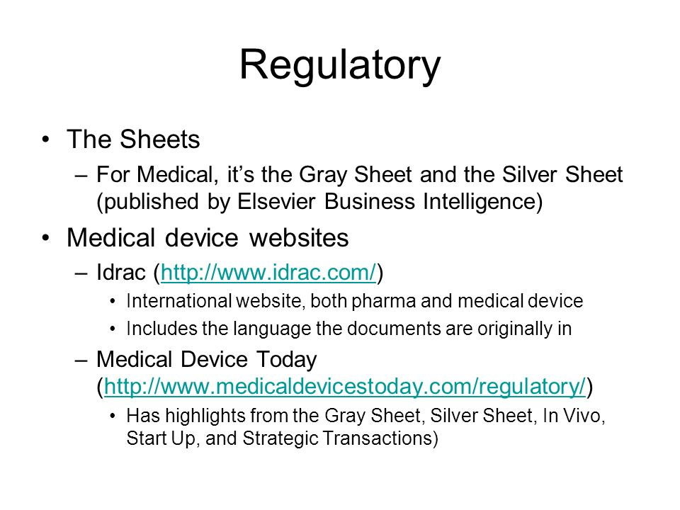Regulatory The Sheets Medical device websites