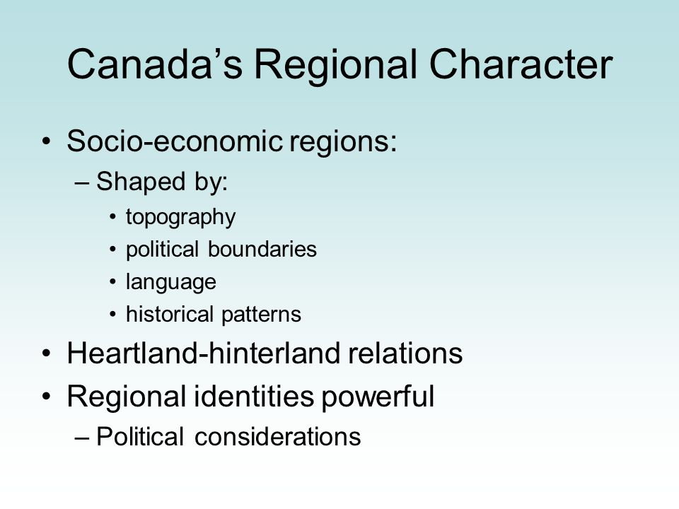 Canada's Regional Character