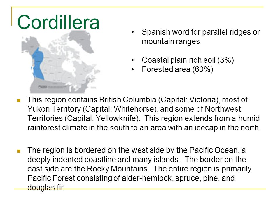 Cordillera Spanish word for parallel ridges or mountain ranges