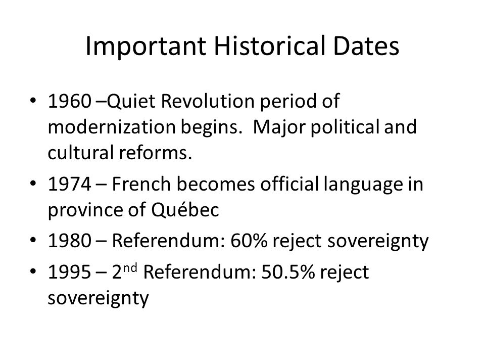 Important Historical Dates