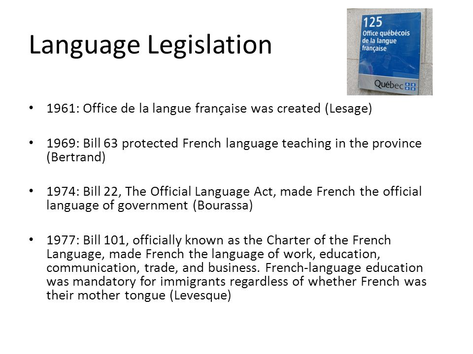Language Legislation1961: Office de la langue française was created (Lesage)