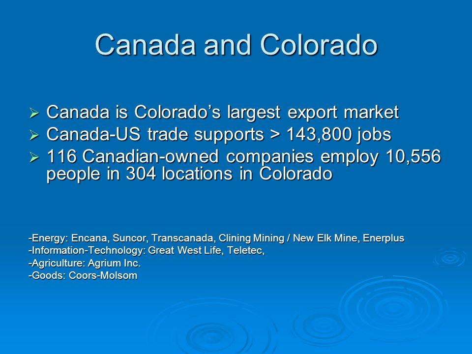 Canada and Colorado Canada is Colorado's largest export market