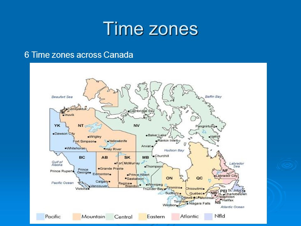 6 Time zones across Canada