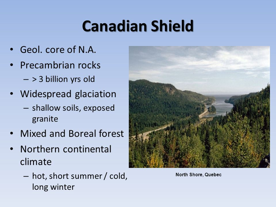 Canadian Shield Geol. core of N.A. Precambrian rocks