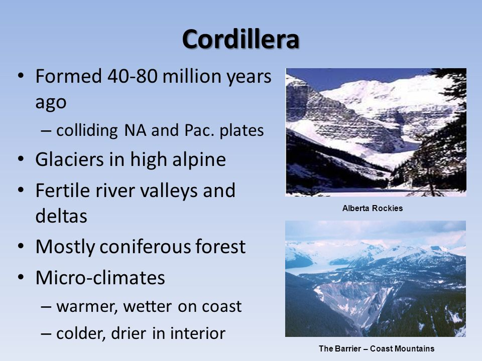 Cordillera Formed million years ago Glaciers in high alpine