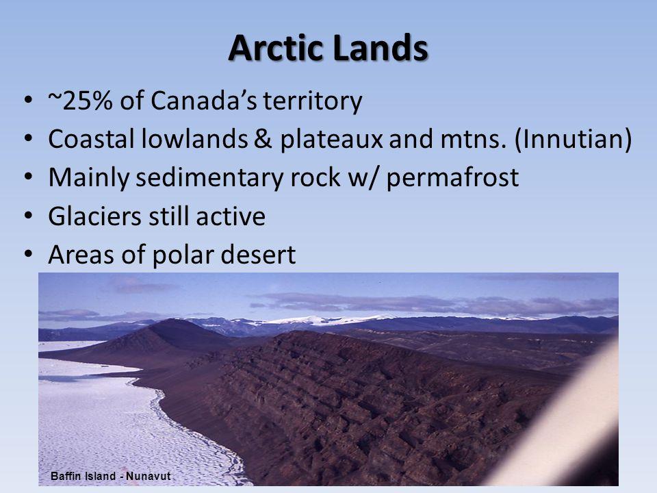 Arctic Lands ~25% of Canada's territory