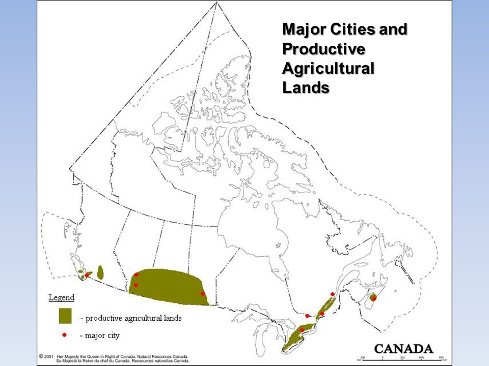 Major Cities and Productive Agricultural Lands