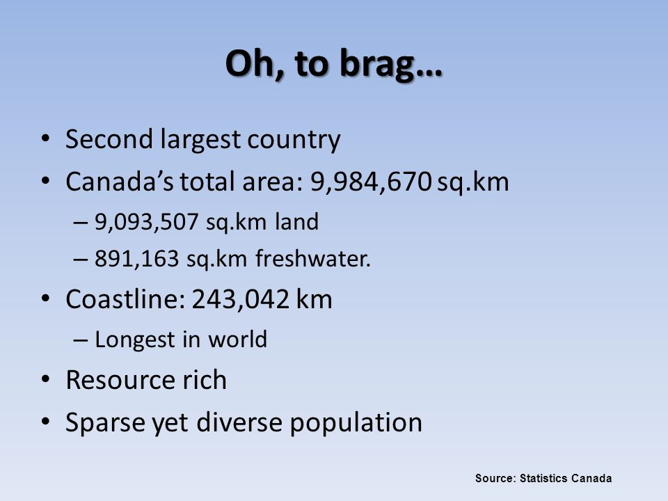 Oh, to brag… Second largest country