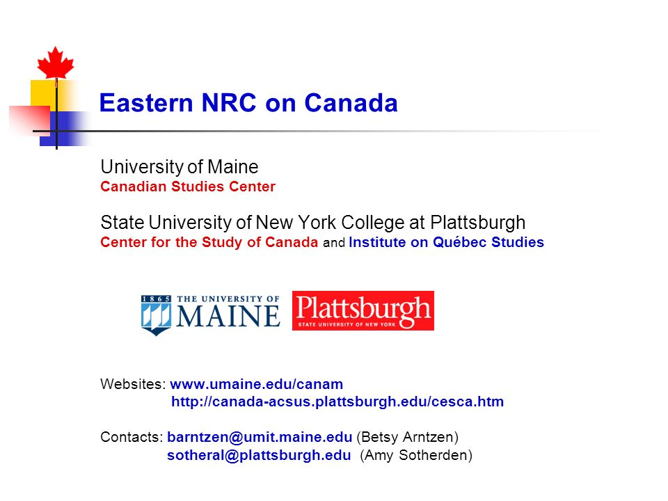 Eastern NRC on Canada University of Maine