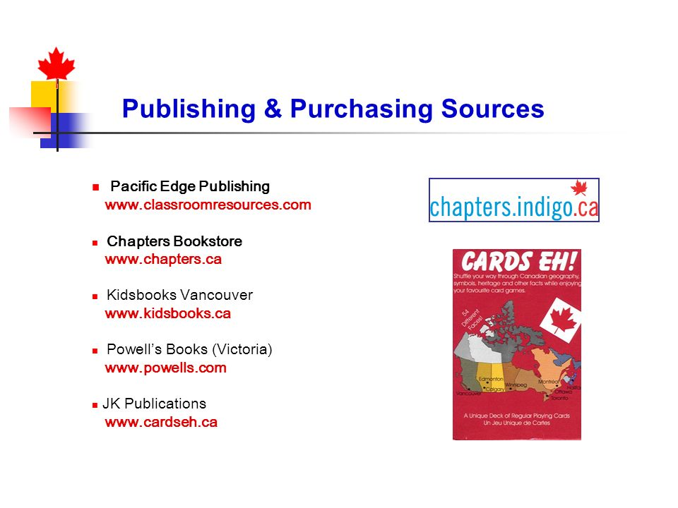 Publishing & Purchasing Sources