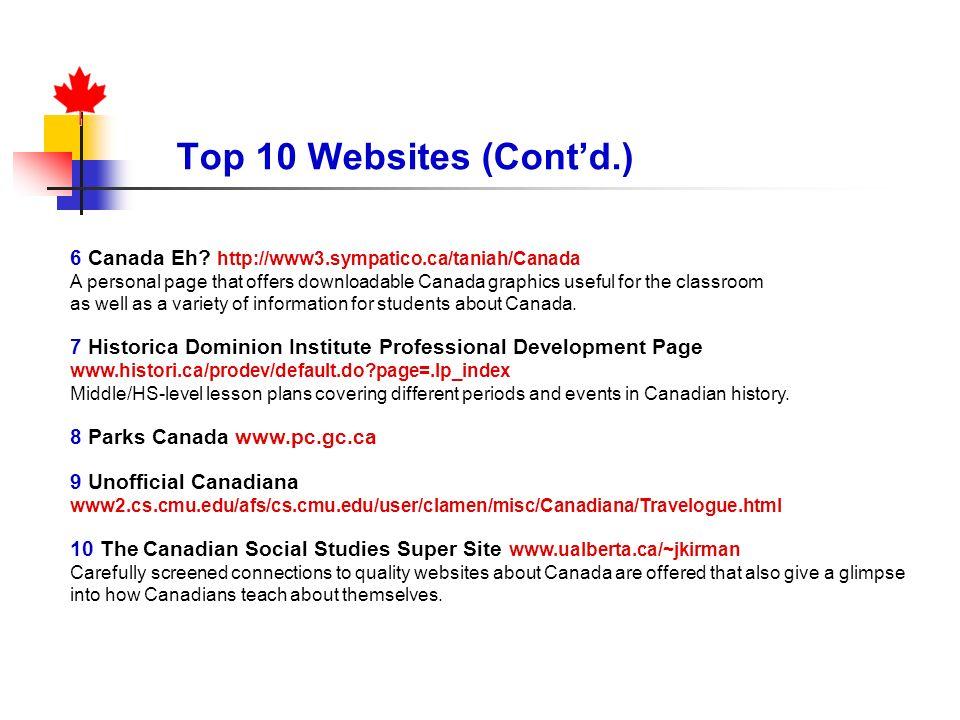 Top 10 Websites (Cont'd.) 6 Canada Eh http://www3.sympatico.ca/taniah/Canada.