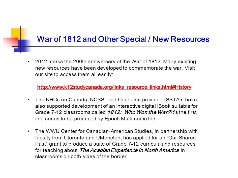 War of 1812 and Other Special / New Resources