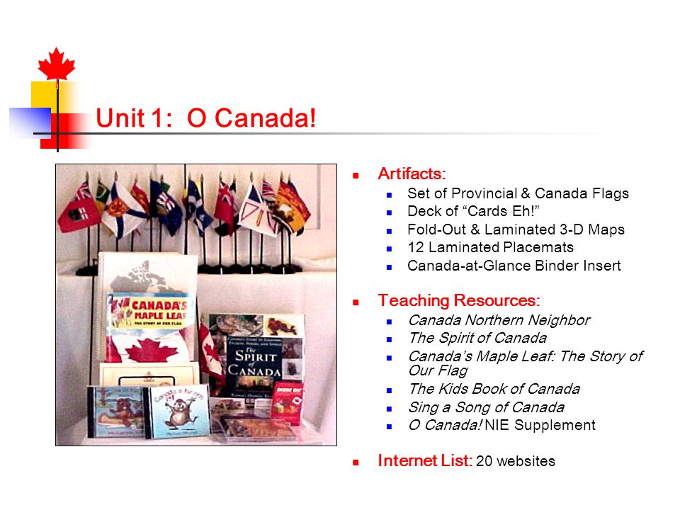 Unit 1: O Canada! Artifacts: Teaching Resources: