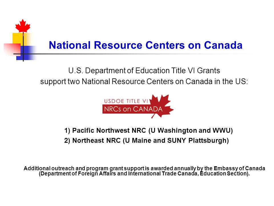 National Resource Centers on Canada
