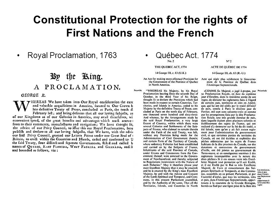 Constitutional Protection for the rights of First Nations and the French