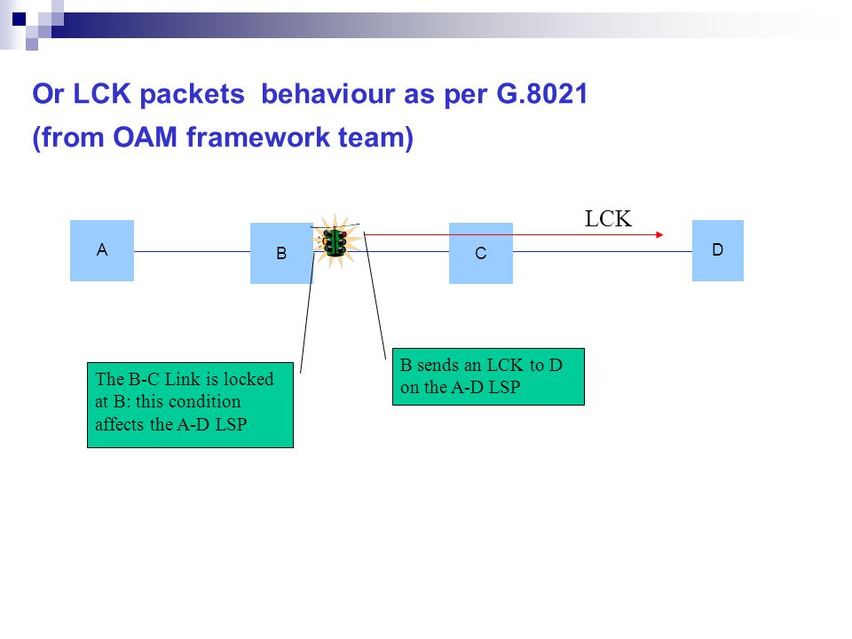 Or LCK packets behaviour as per G.8021 (from OAM framework team)