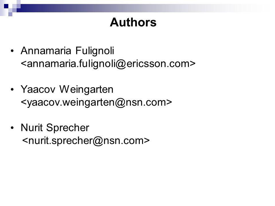 Authors Annamaria Fulignoli <annamaria.fulignoli@ericsson.com>