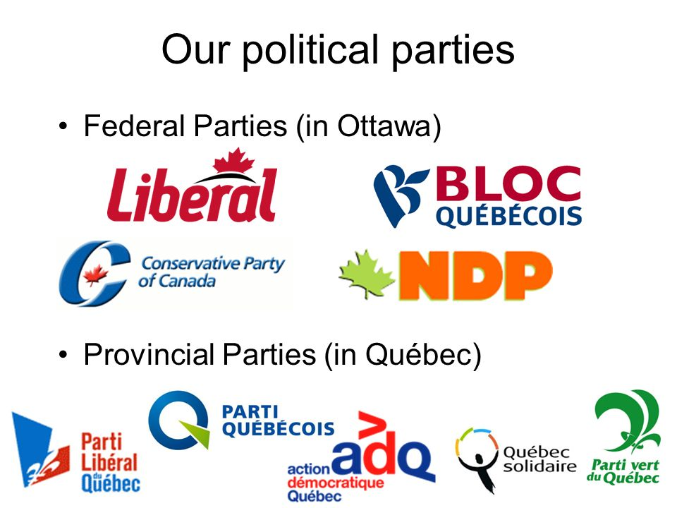 Our political parties Federal Parties (in Ottawa)