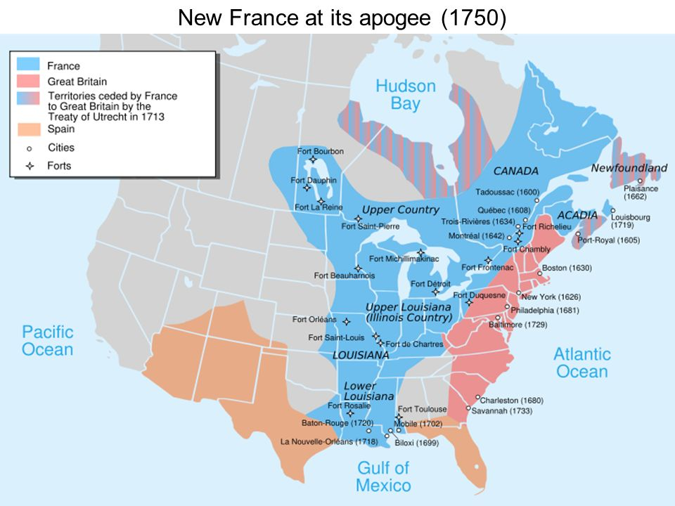 New France at its apogee (1750)
