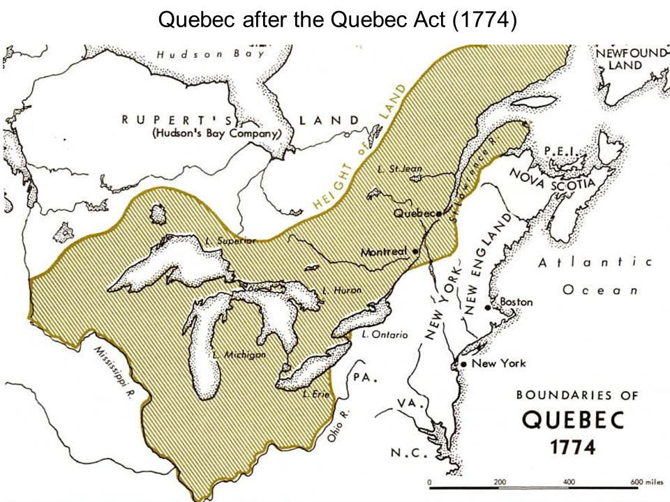 Quebec after the Quebec Act (1774)
