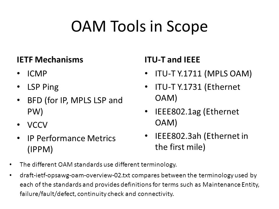 OAM Tools in Scope IETF Mechanisms ITU-T and IEEE ICMP LSP Ping