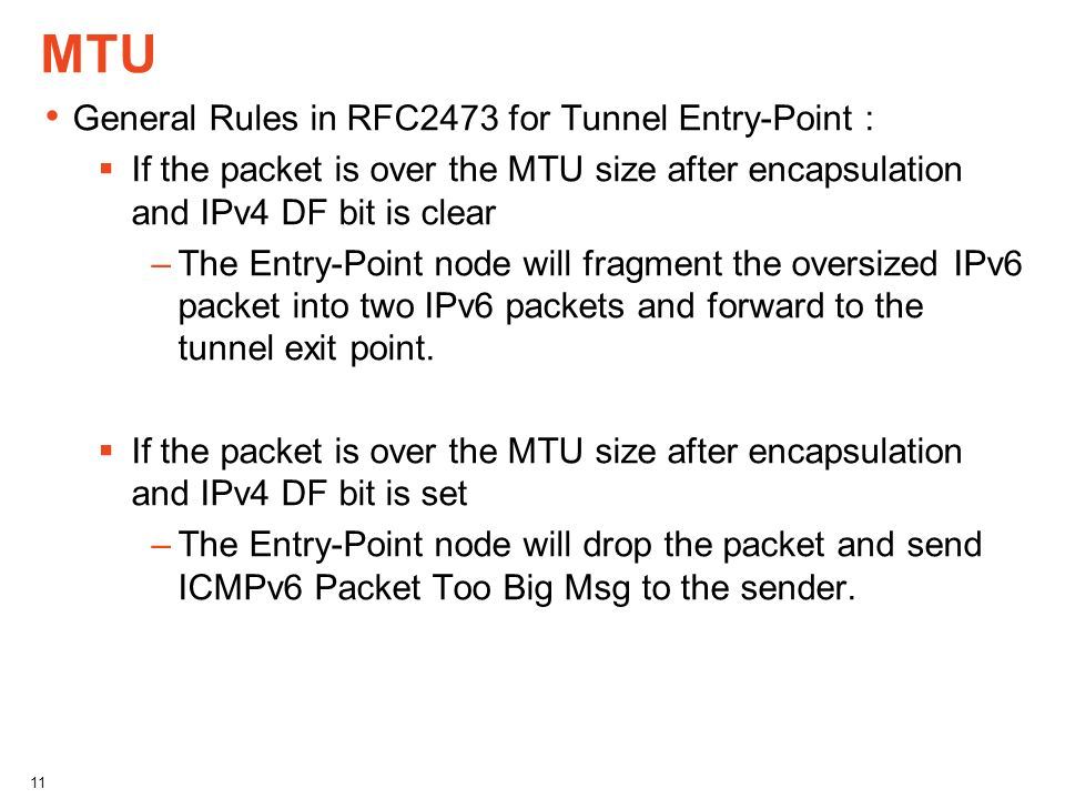 MTU General Rules in RFC2473 for Tunnel Entry-Point :