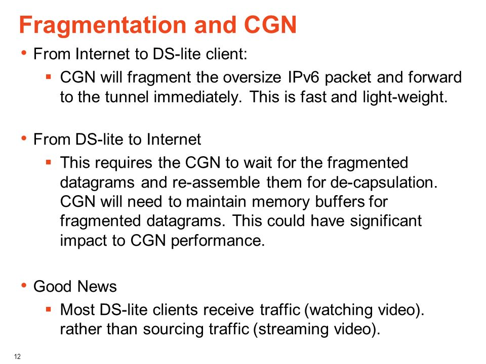Fragmentation and CGN From Internet to DS-lite client: