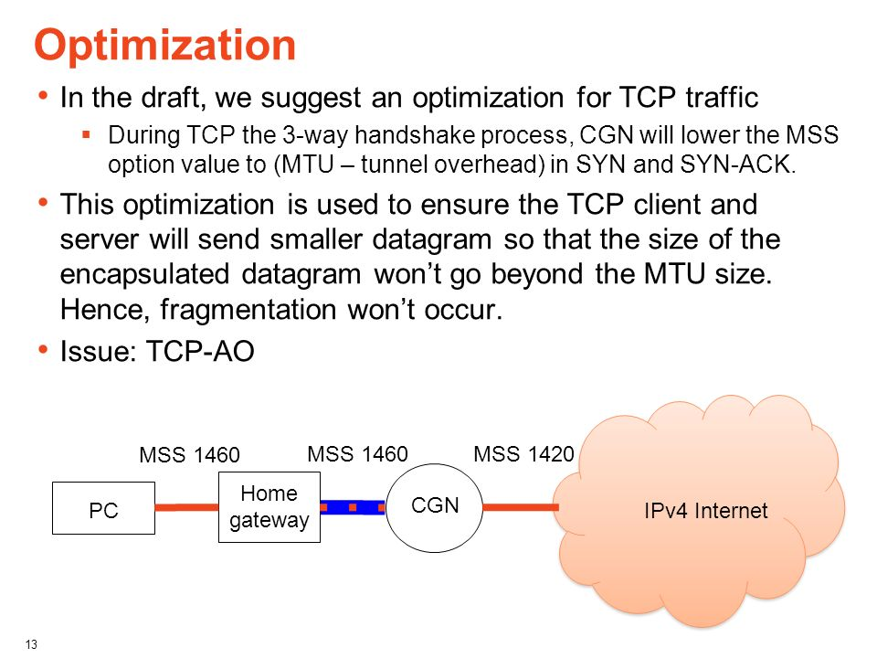 Optimization In the draft, we suggest an optimization for TCP traffic
