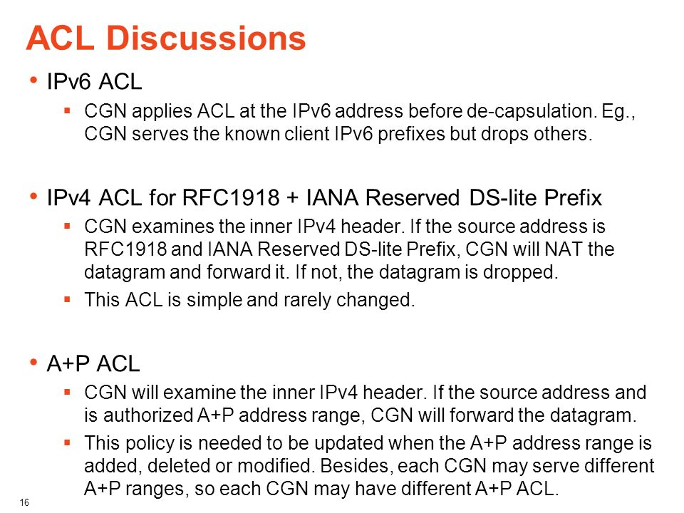ACL Discussions IPv6 ACL