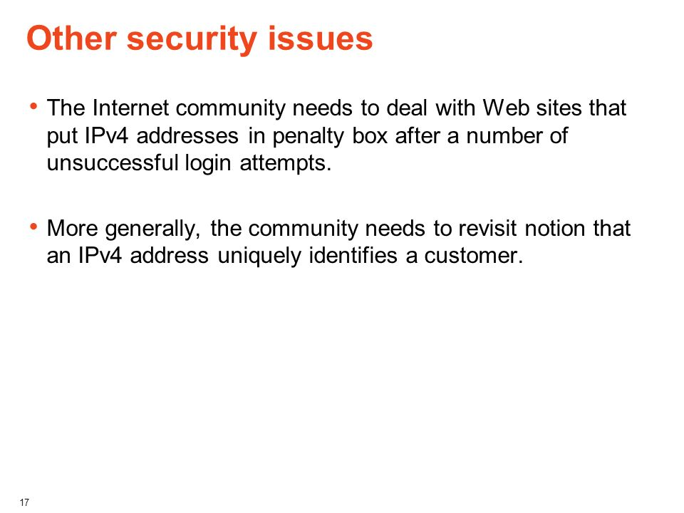 Other security issues