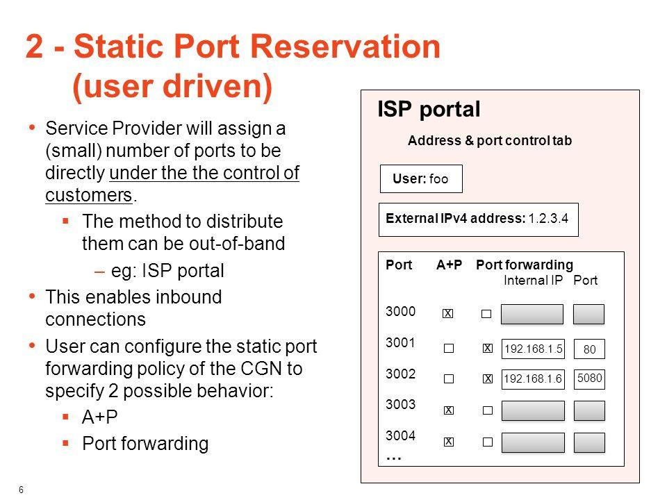 2 - Static Port Reservation (user driven)
