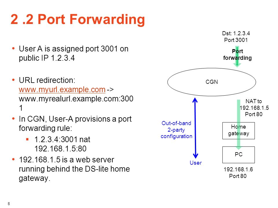 2 .2 Port Forwarding User A is assigned port 3001 on public IP