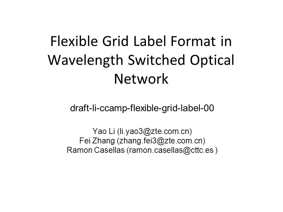 Flexible Grid Label Format in Wavelength Switched Optical Network