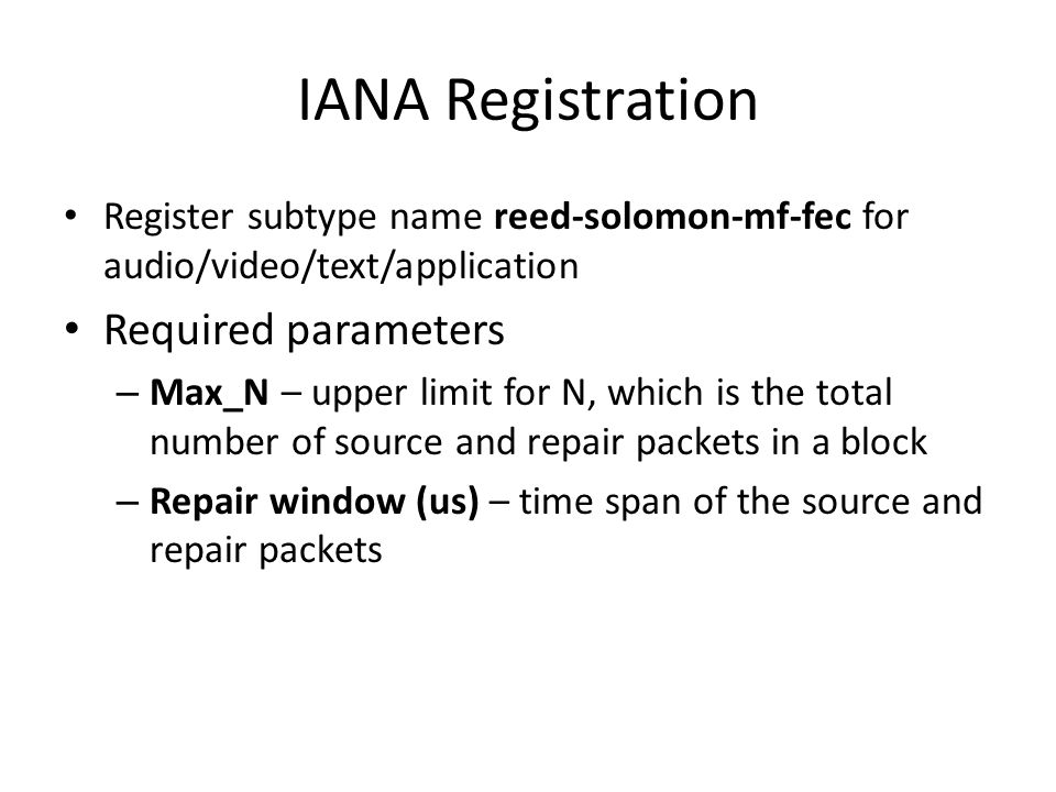 IANA Registration Required parameters