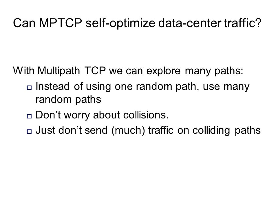 Can MPTCP self-optimize data-center traffic