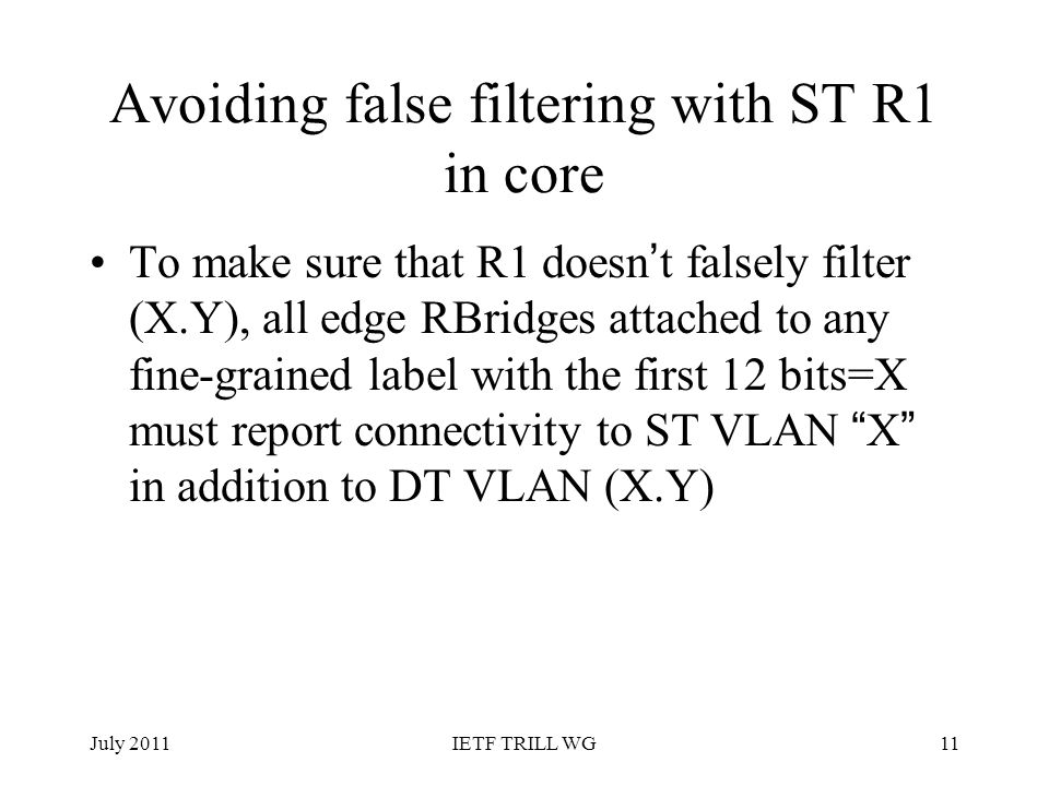 Avoiding false filtering with ST R1 in core