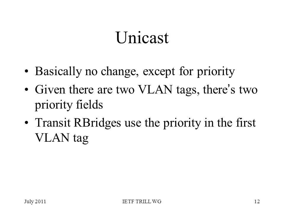 Unicast Basically no change, except for priority