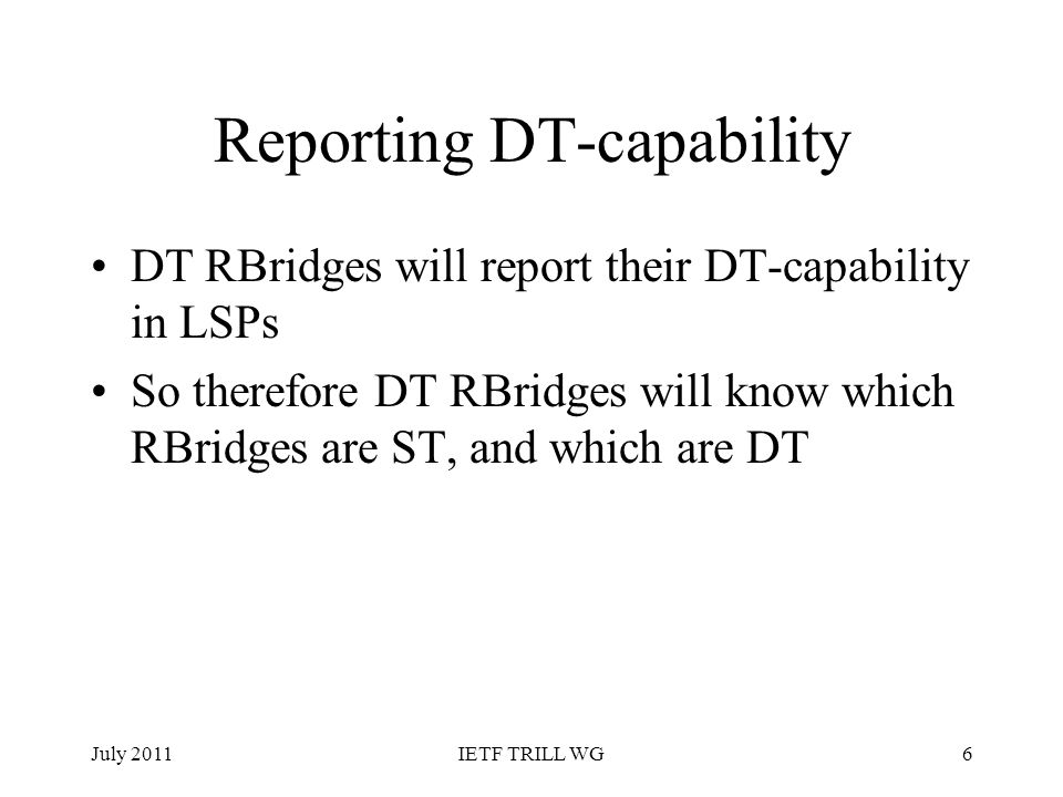 Reporting DT-capability
