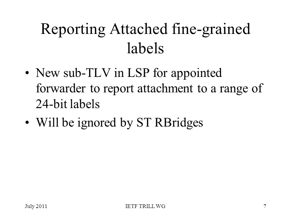 Reporting Attached fine-grained labels