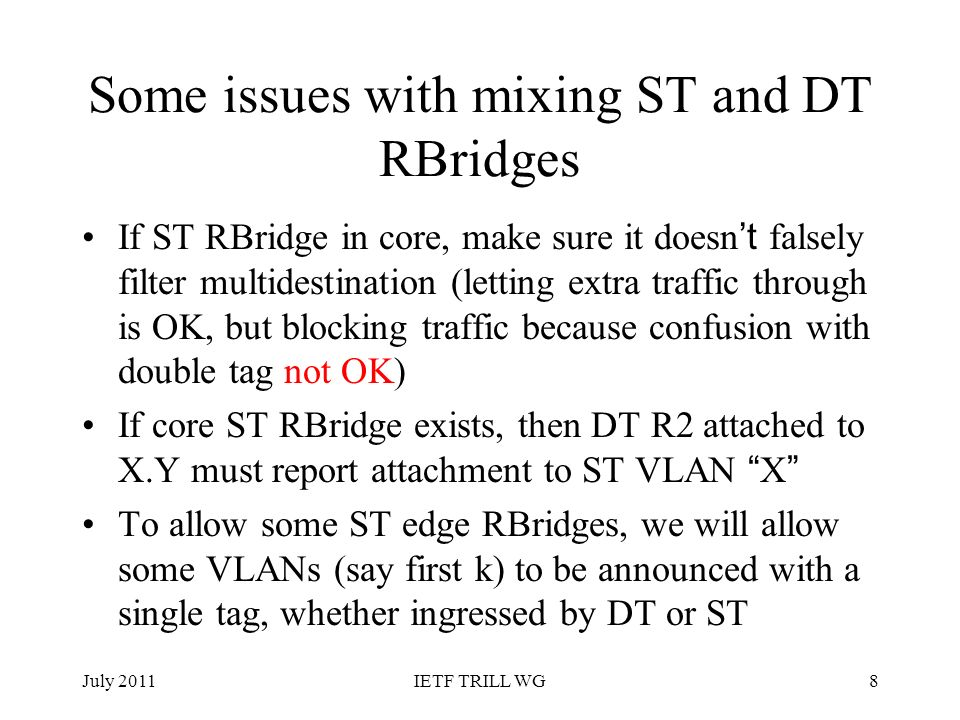 Some issues with mixing ST and DT RBridges