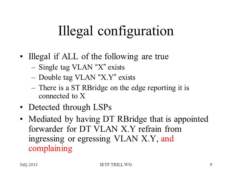 Illegal configuration