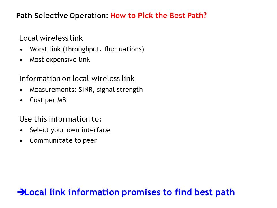 Local link information promises to find best path