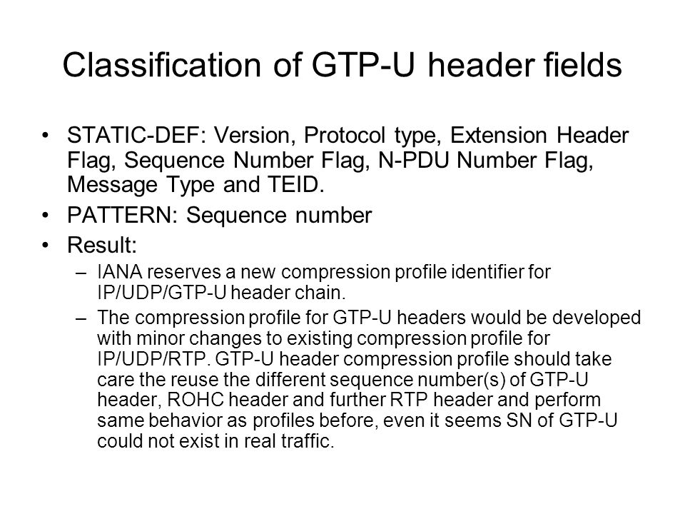 Classification of GTP-U header fields