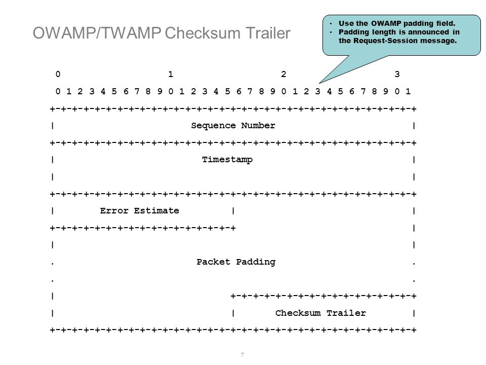 OWAMP/TWAMP Checksum Trailer