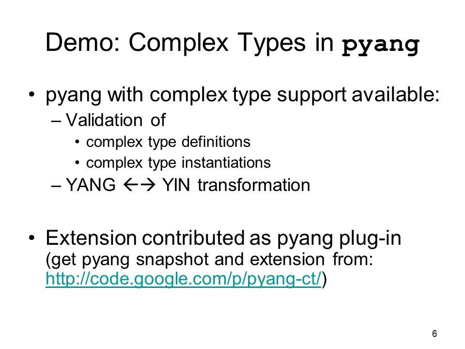 Demo: Complex Types in pyang