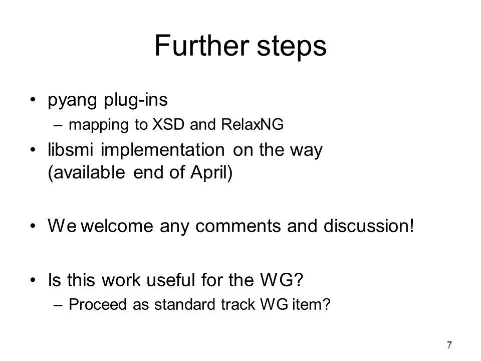 Further steps pyang plug-ins